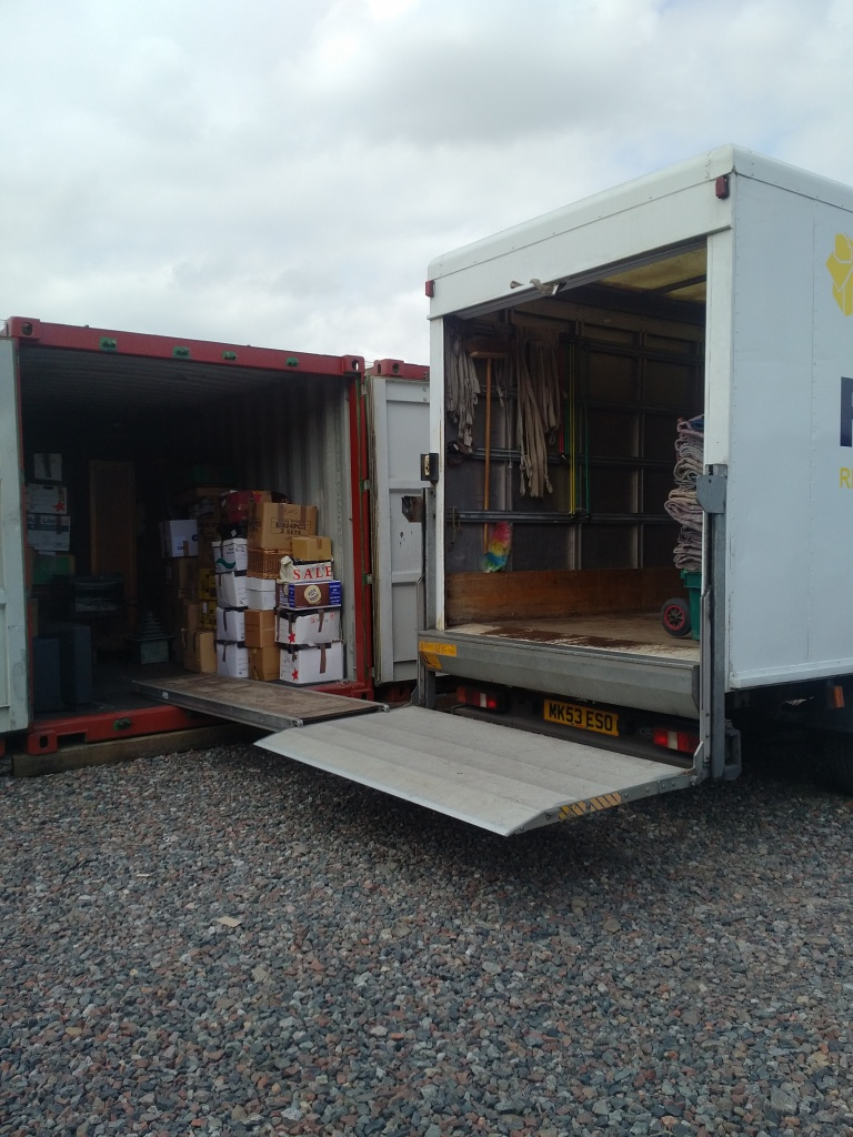 van loading into a storage shipping container in carlisle Your Lock Your Key