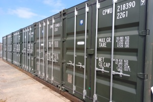row of storage shipping containers for self storage in Carlisle