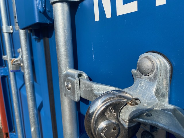 a locked shipping container