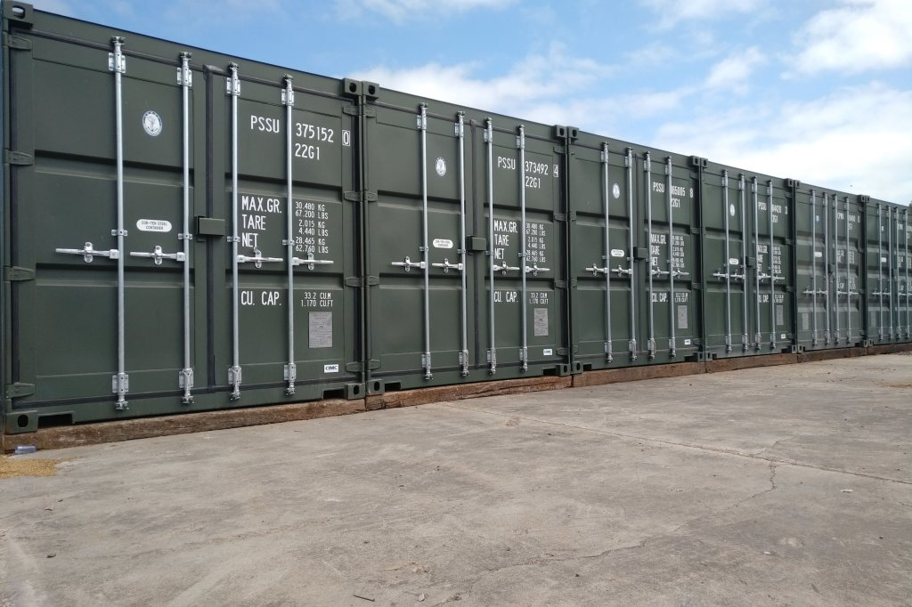 row of shipping containers